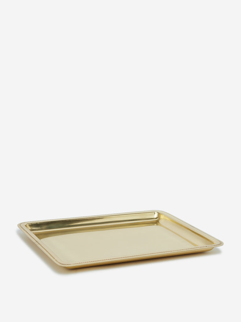 Westside Home Gold Large Metal Beaded Tray