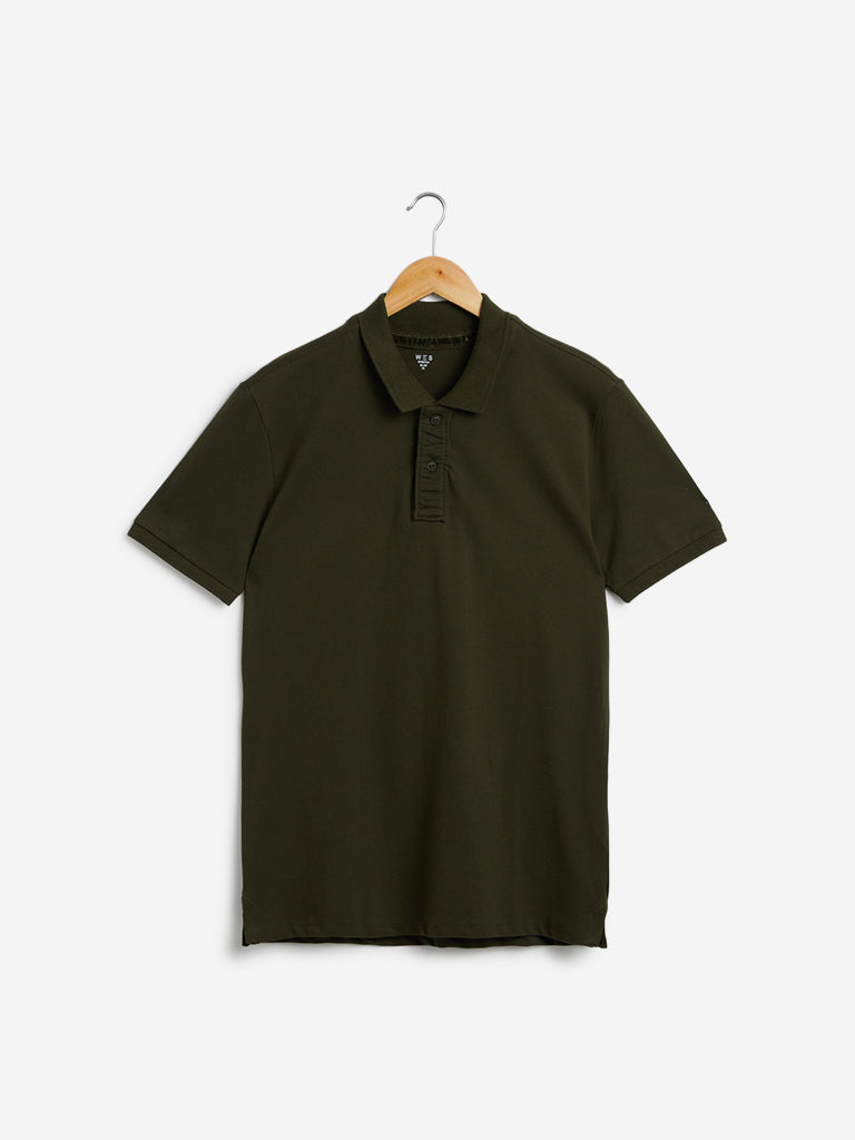 WES Casuals Olive Slim-Fit Polo T-Shirt