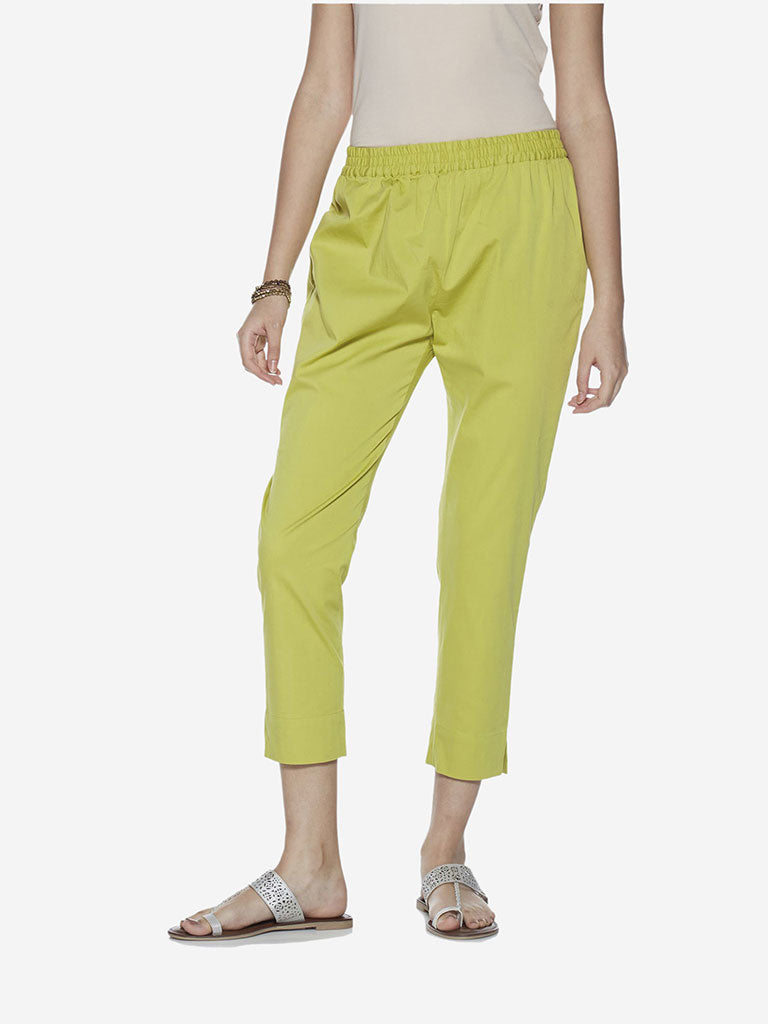Utsa Lime Green Cropped Ethnic Pencil Pants