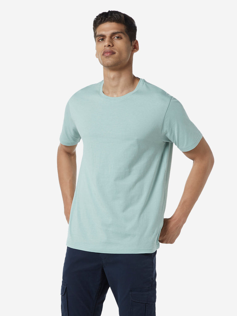 WES Casuals Mint Organic Cotton Slim Fit T-Shirt