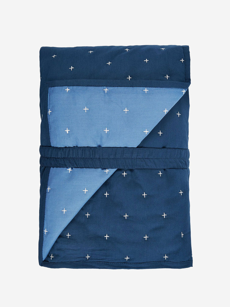 Westside Home Navy Embroidered Quilted Bed Cover Set