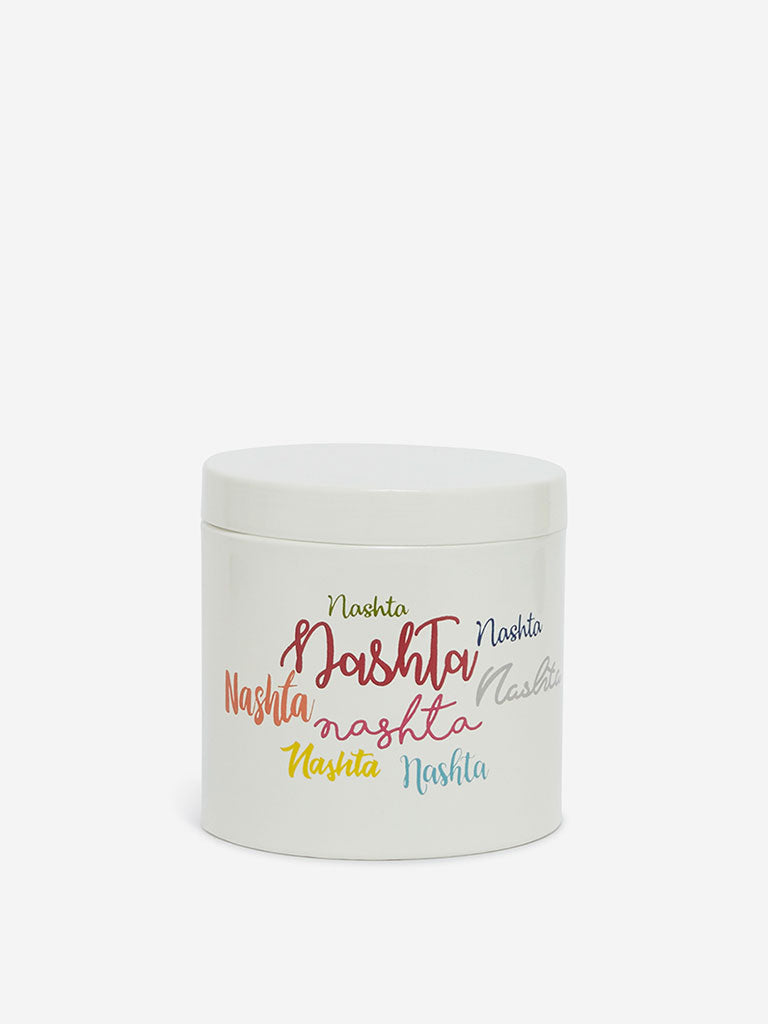Westside Home Off-White Text Print Container