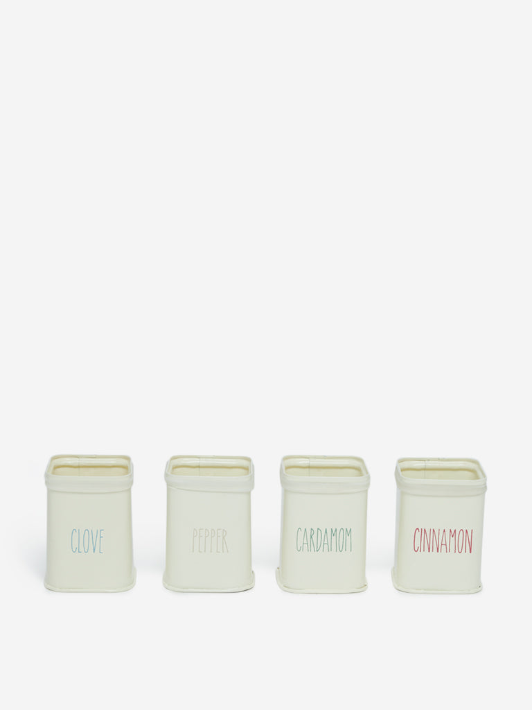 Westside Home Off-White Spice Canisters Set of Four