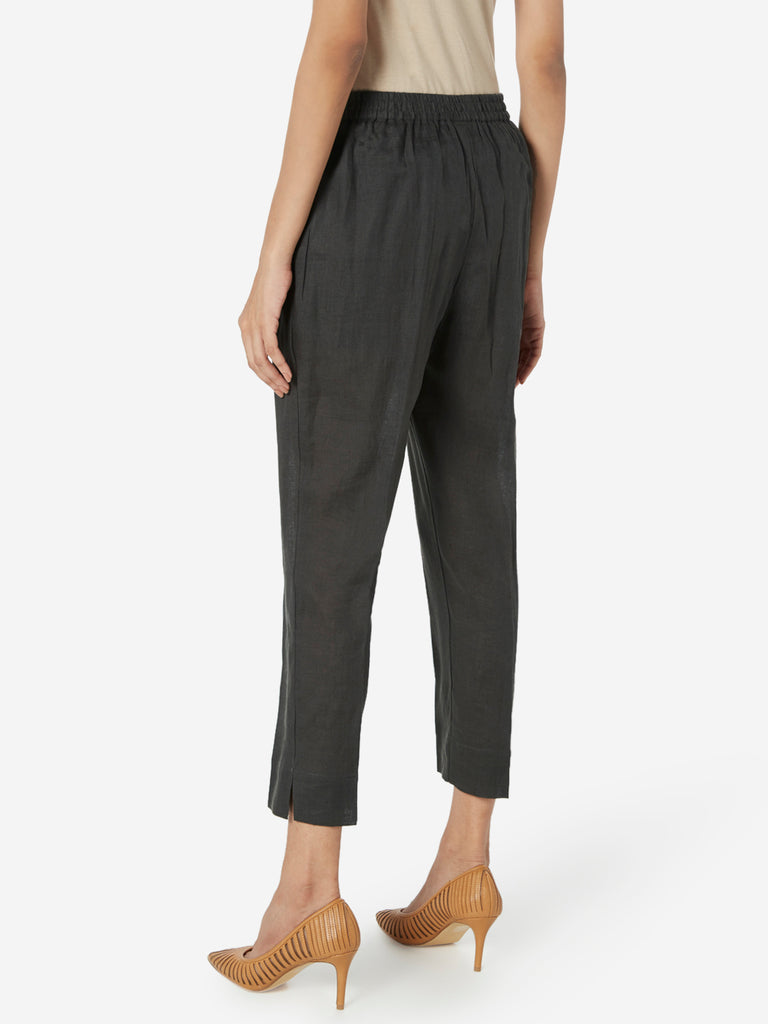 Zuba Charcoal Slim Fit Cropped Ethnic Pants