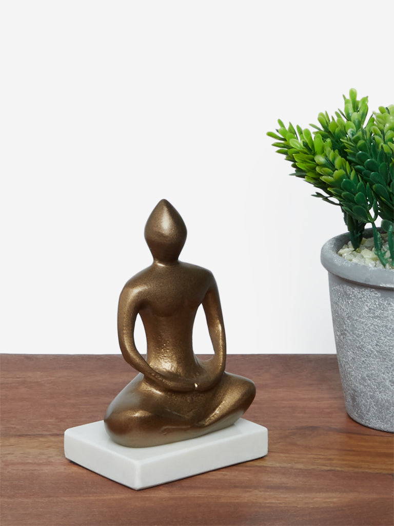 Westside Home Brass Buddha Dhyan-Pose Figurine