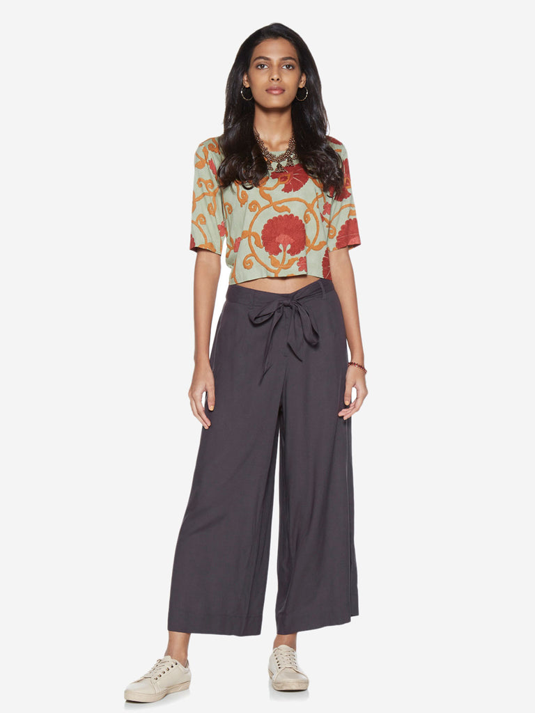 Bombay Paisley Charcoal Palazzos With Belt