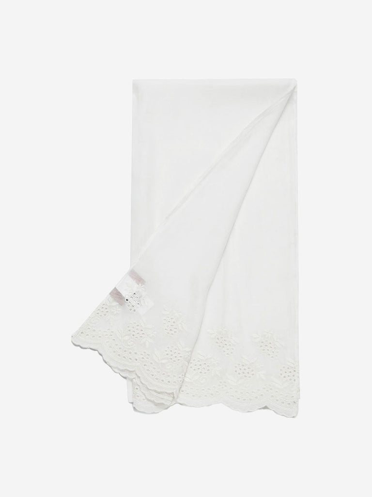Zuba White Cotton-Silk Embroidered Stole