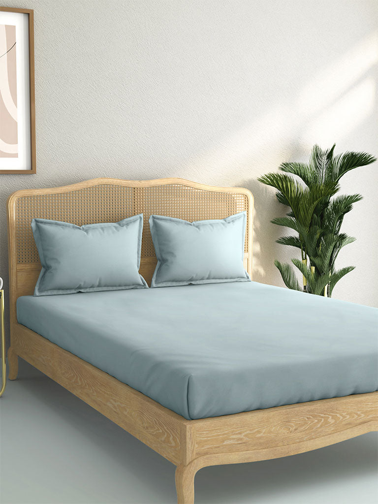 Westside Home Light-Blue 144 TC Double Bedsheet And Pillowcase Set