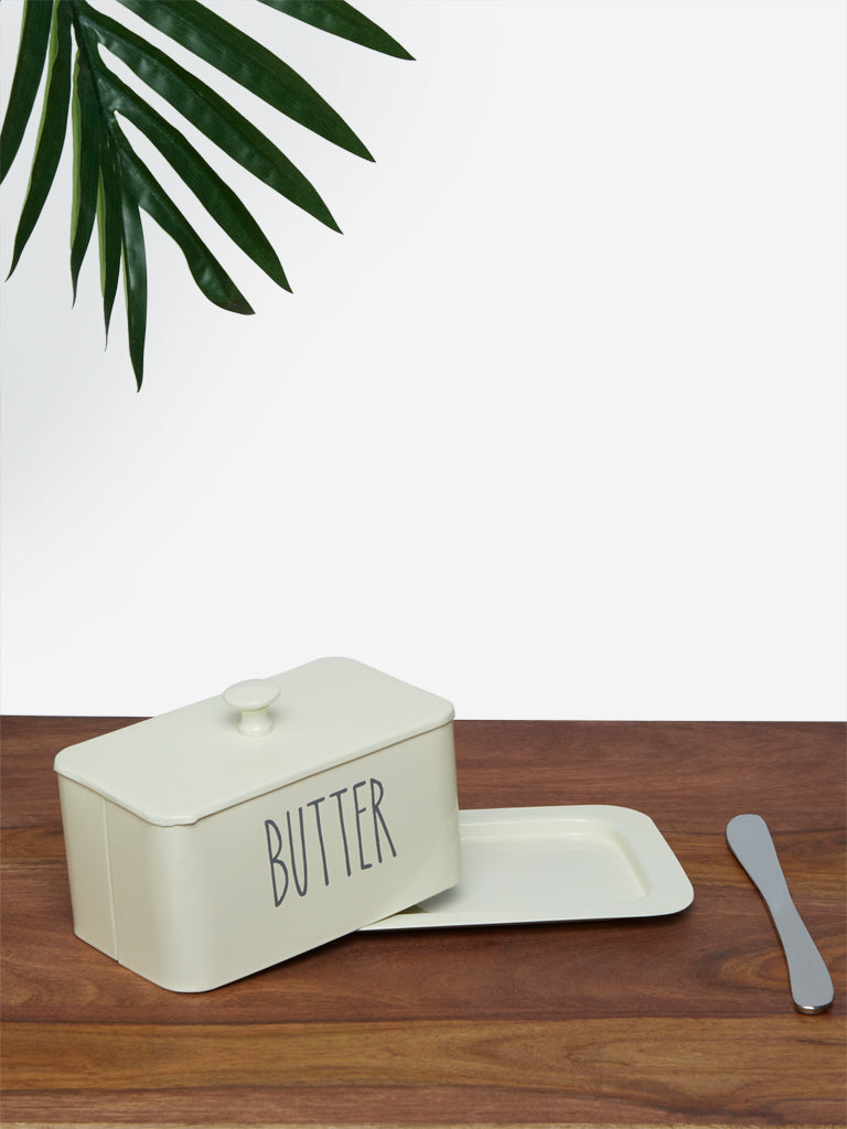 Westside Home Off-White Butter Dish