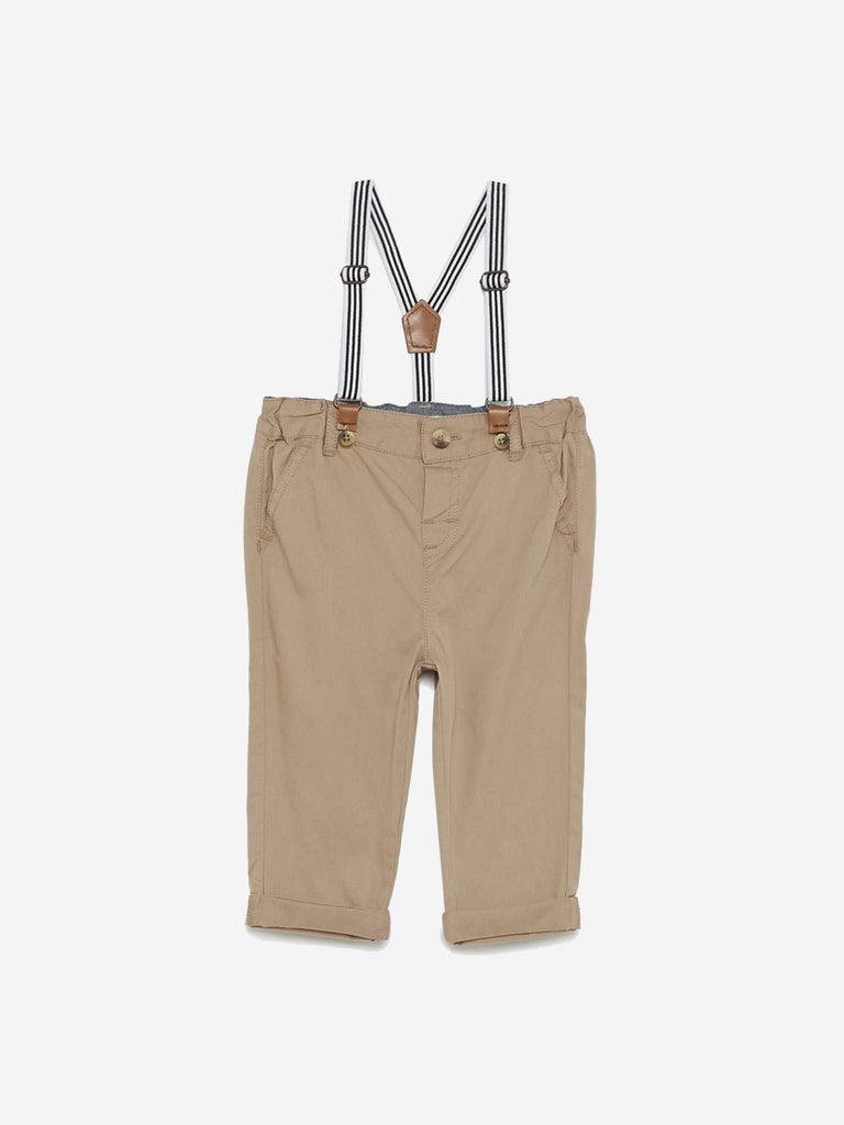 Baby HOP Beige Newton Pants With Suspenders