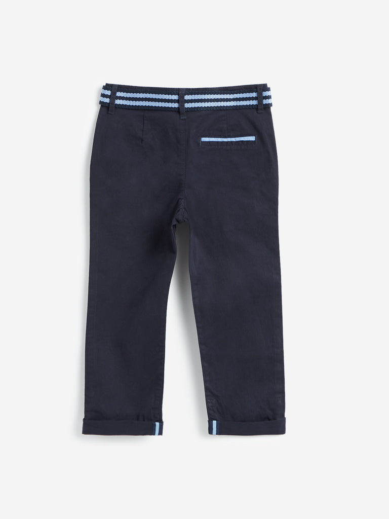 HOP Kids Navy Trousers With Belt