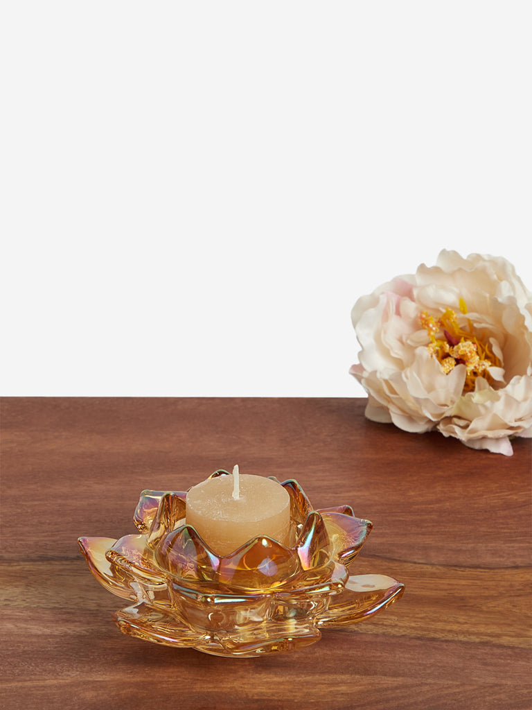 Westside Home Gold Lotus Tealight Candle Holder