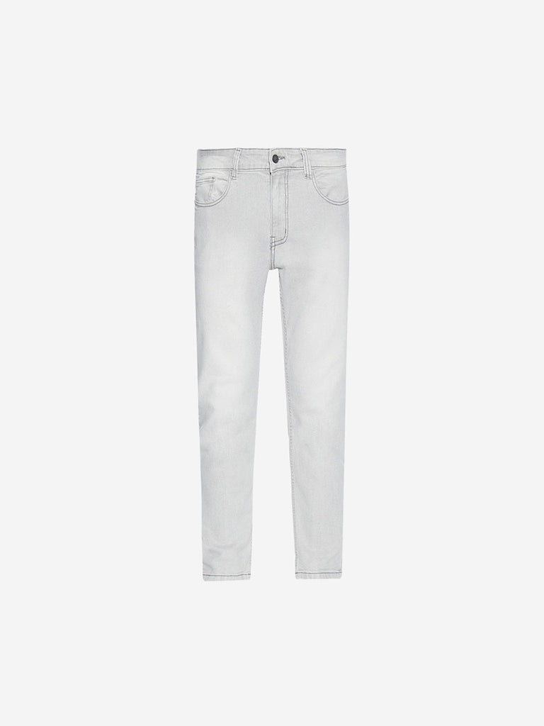 Nuon Grey Cotton-Blend Carrot Fit Rodeo Jeans