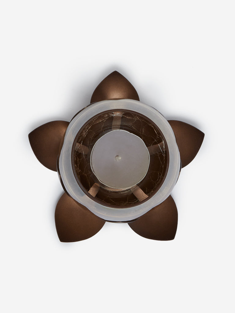 Westside Home Dark-Brown Lotus Candle Stand