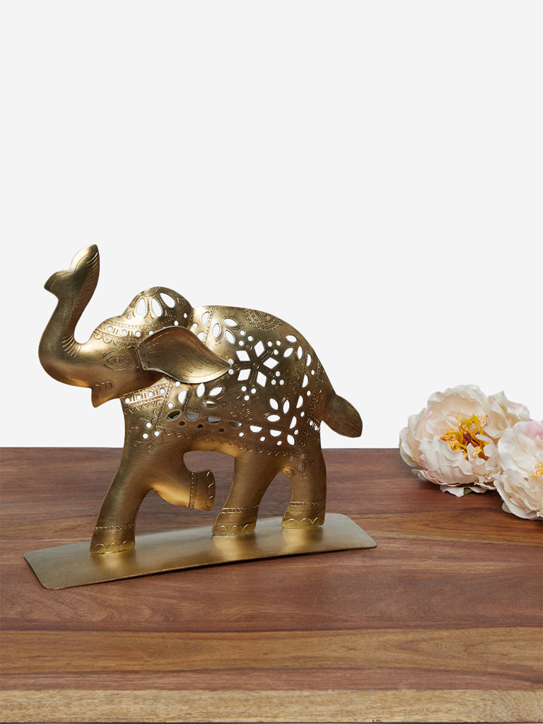 Westside Home Gold Elephant Candle Stand
