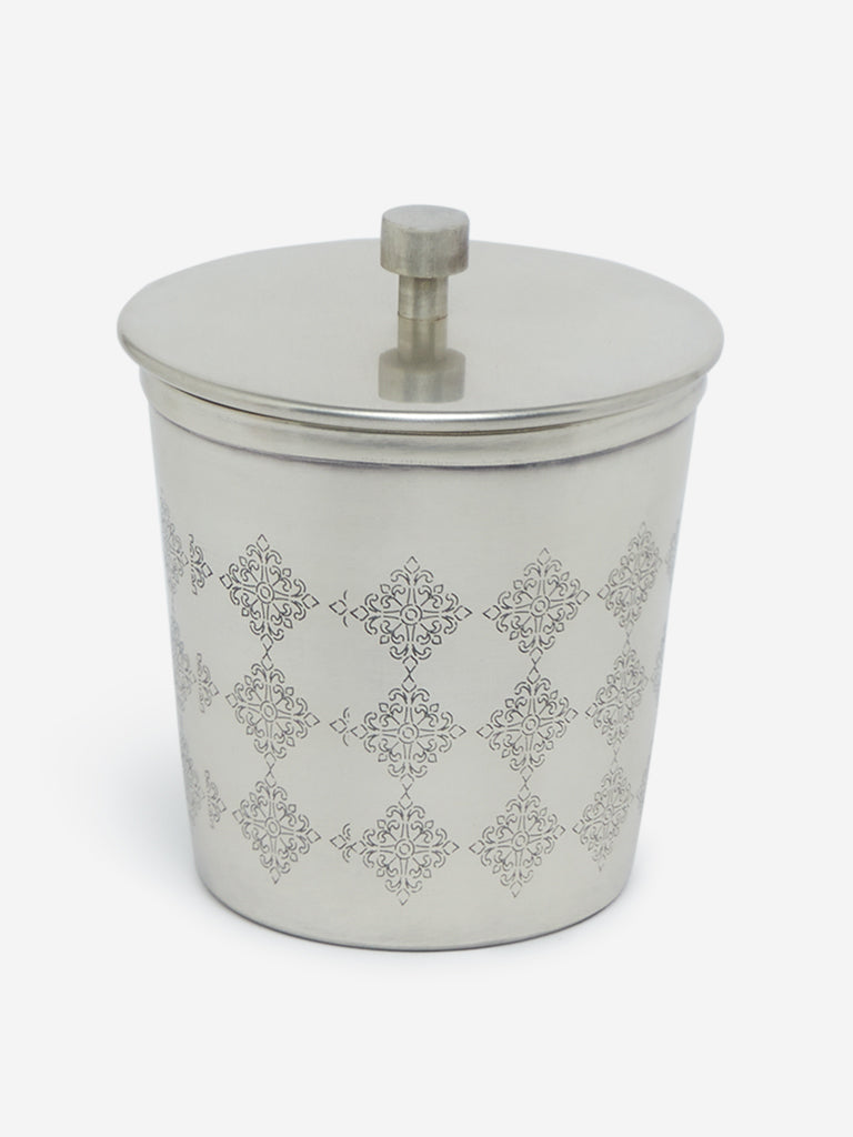 Westside Home Silver Small Etched Jar