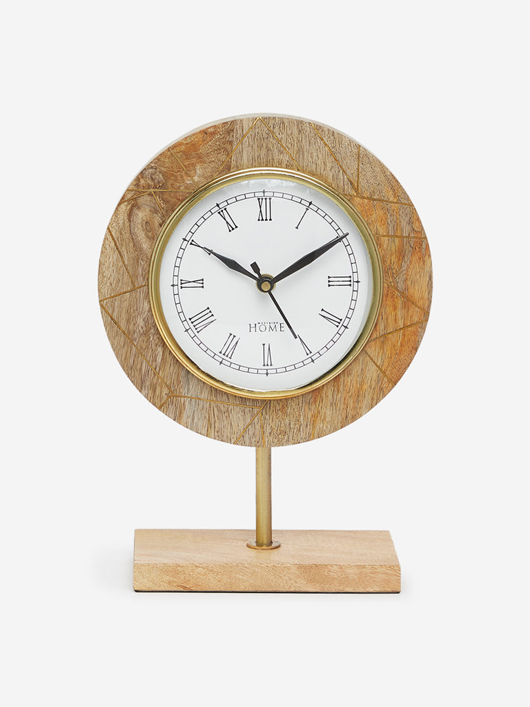 Westside Home Light Brown Wooden Table Clock