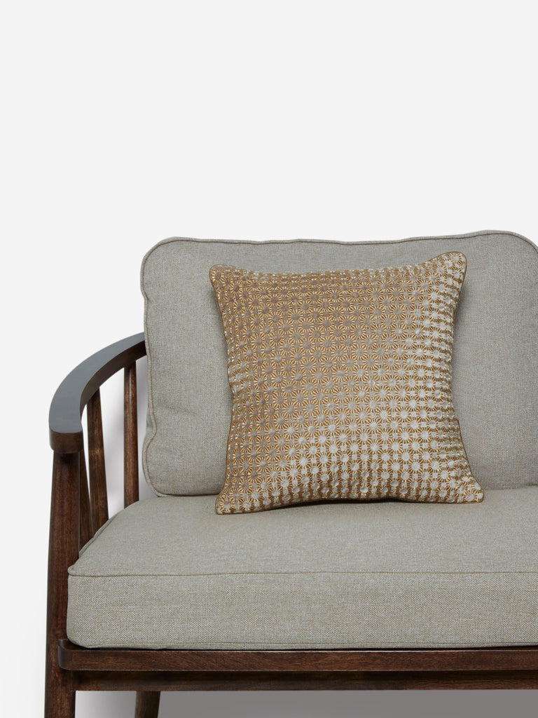 Westside Home Gold Circular Embroidered Cushion Cover
