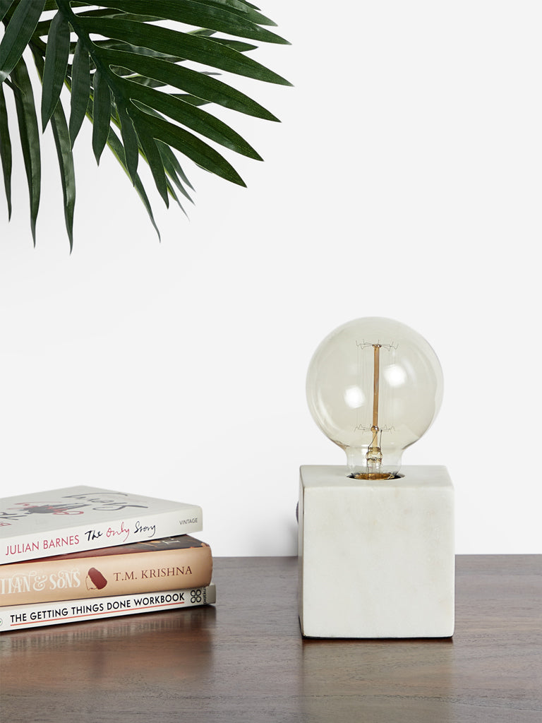 Westside Home White Marble Table Lamp
