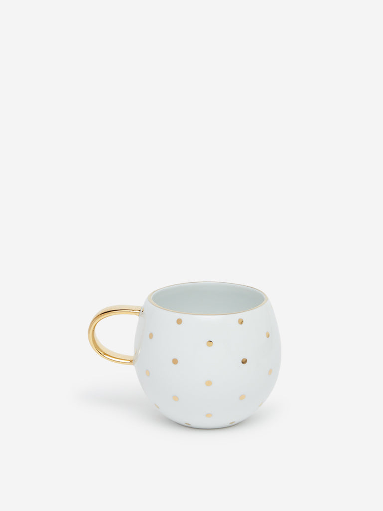 Westside Home White Polka-Dotted Round Cup