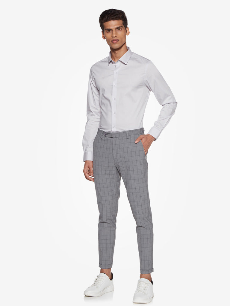 WES Formals Grey Checkered Carrot Fit Trousers