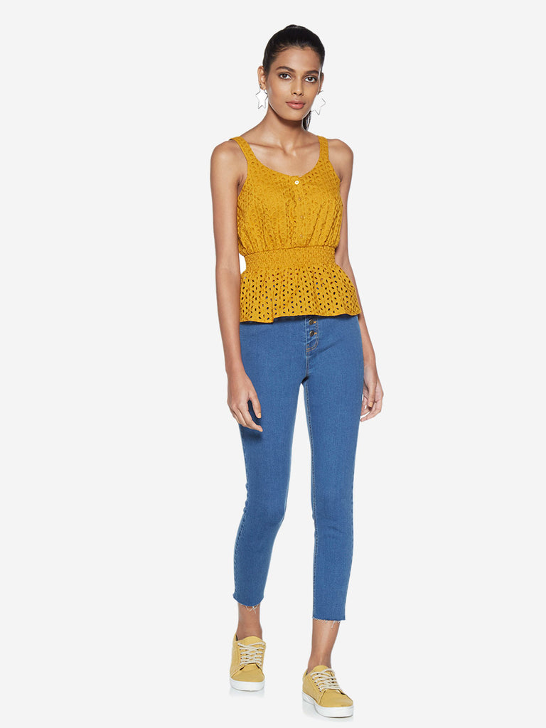 Nuon Blue Cropped High-Waist Jeans