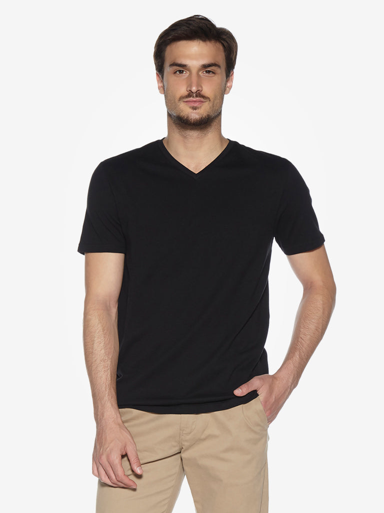 WES Casuals Black Slim Fit T-Shirt
