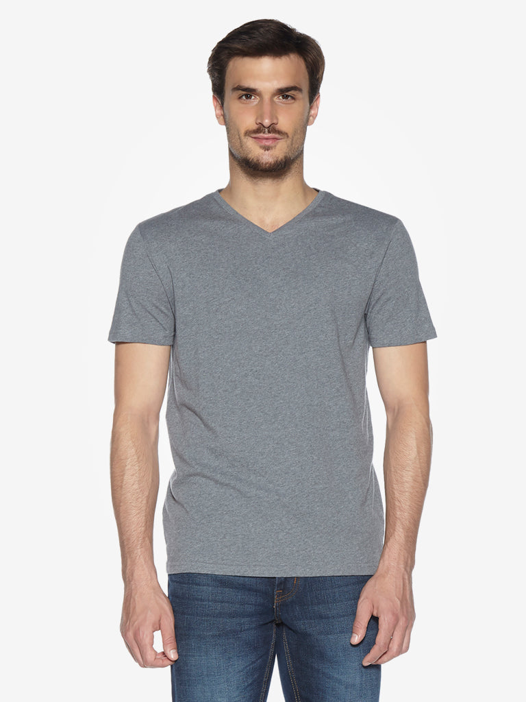 WES Casuals Grey Melange Slim Fit T-Shirt