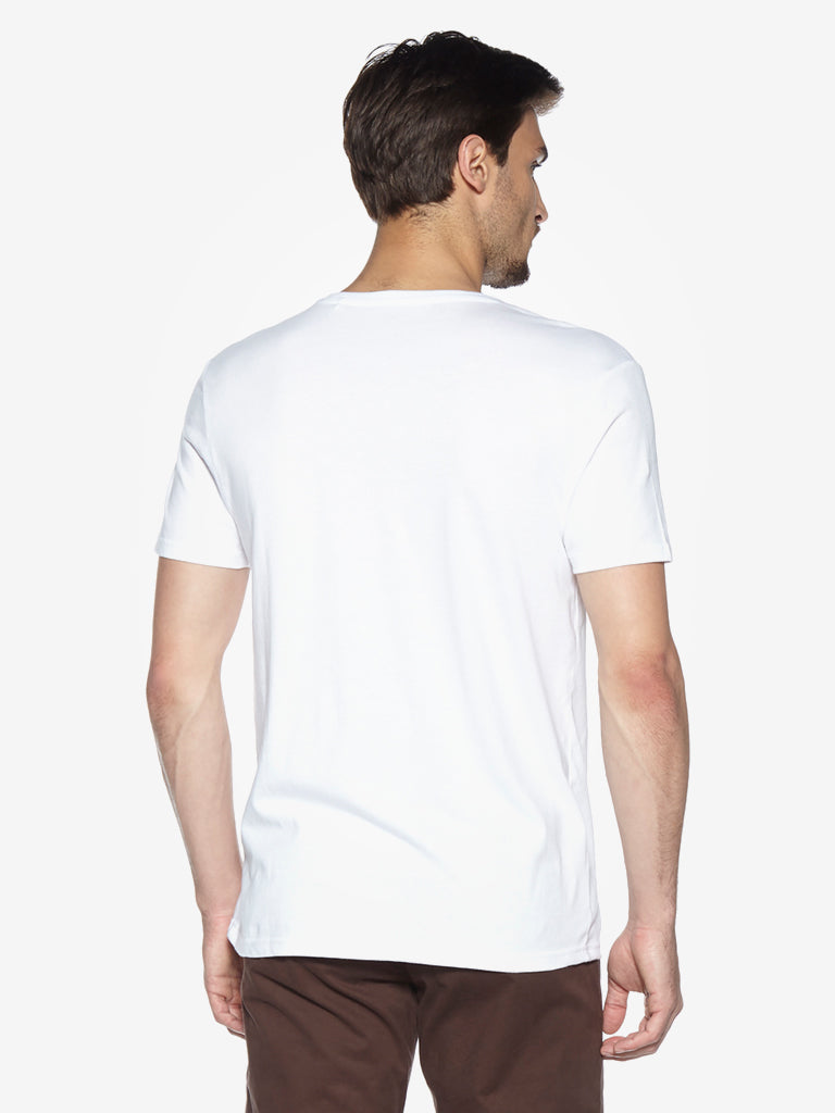 WES Casuals White Slim Fit T-Shirt