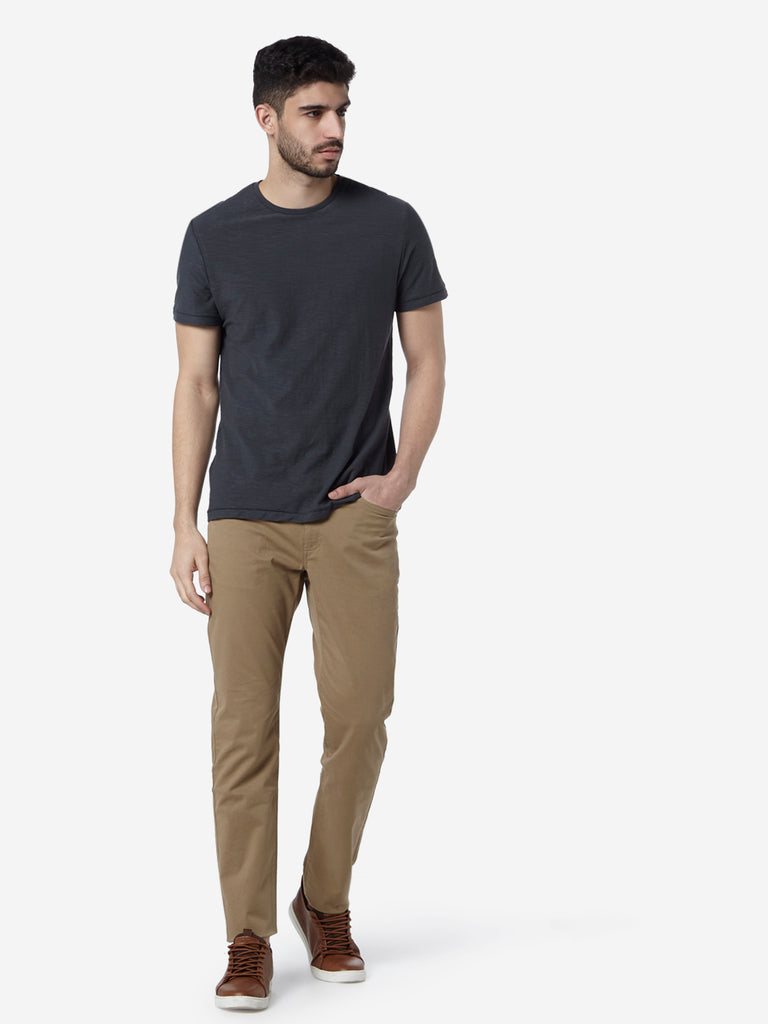 WES Casuals Dark Grey Slim Fit T-Shirt