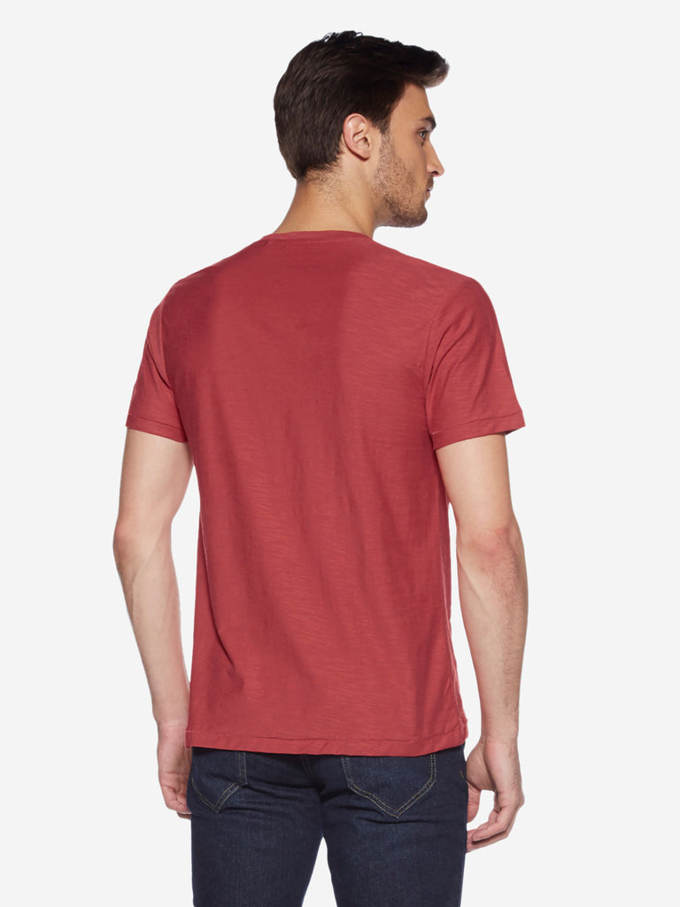 WES Casuals Red Pure Cotton Slim-Fit T-Shirt