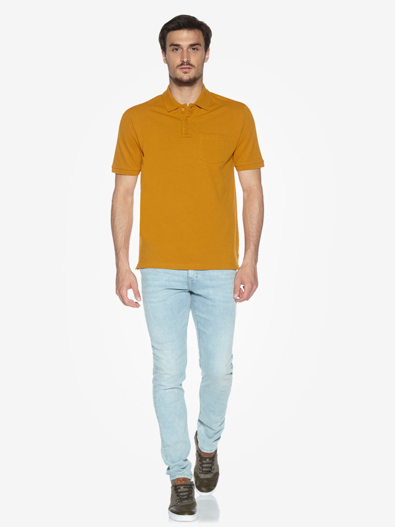 WES Casuals Mustard Relaxed Fit Polo T-Shirt