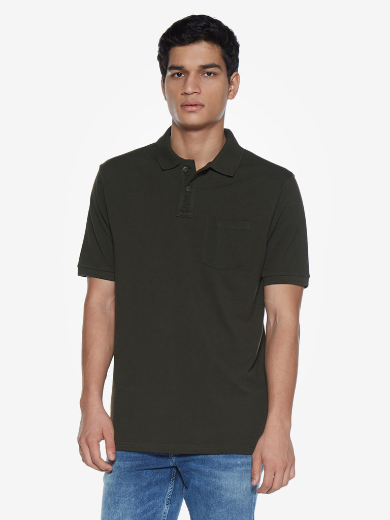 WES Casuals Dark Olive Relaxed Fit Polo T-Shirt