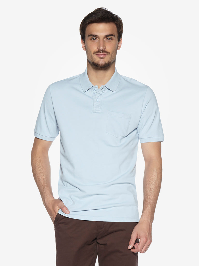WES Casuals Light Blue Relaxed Fit Polo T-Shirt