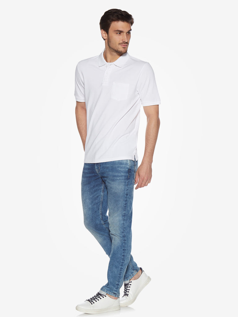 WES Casuals White Relaxed Fit Polo T-Shirt