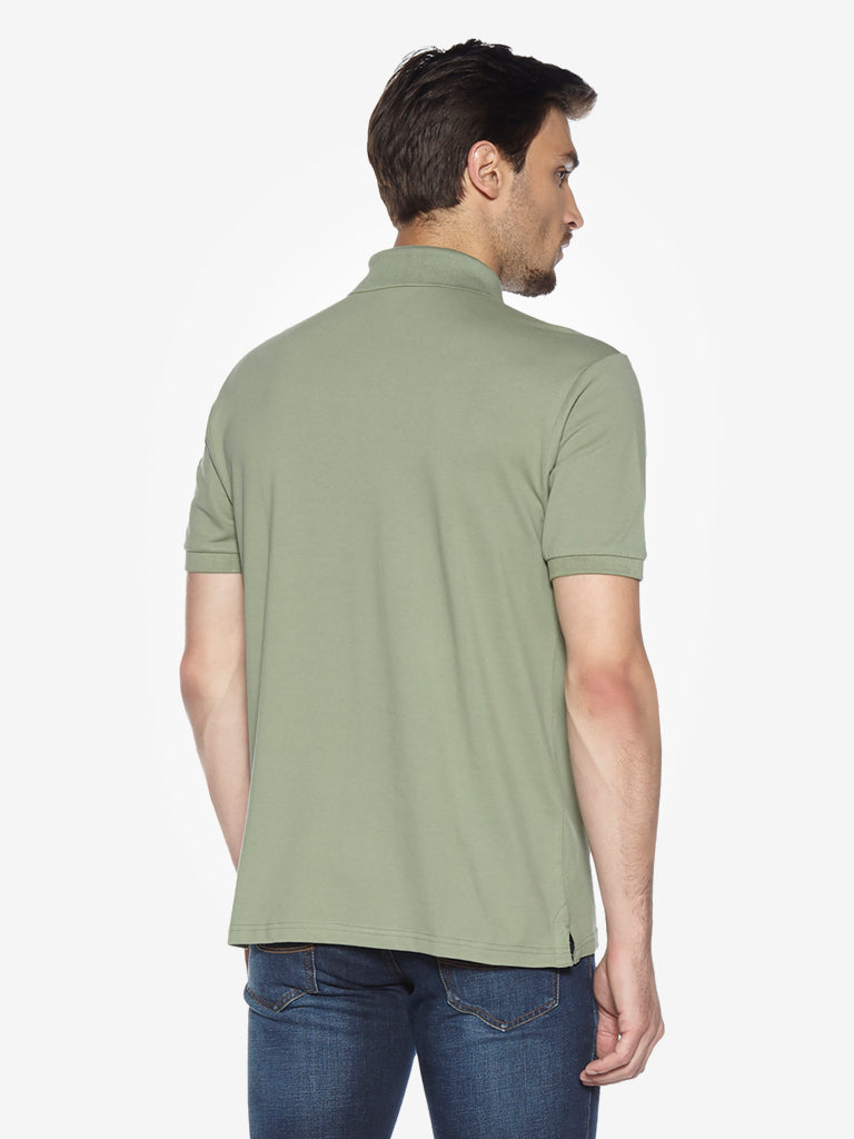 WES Casuals Olive Relaxed Fit Polo T-Shirt