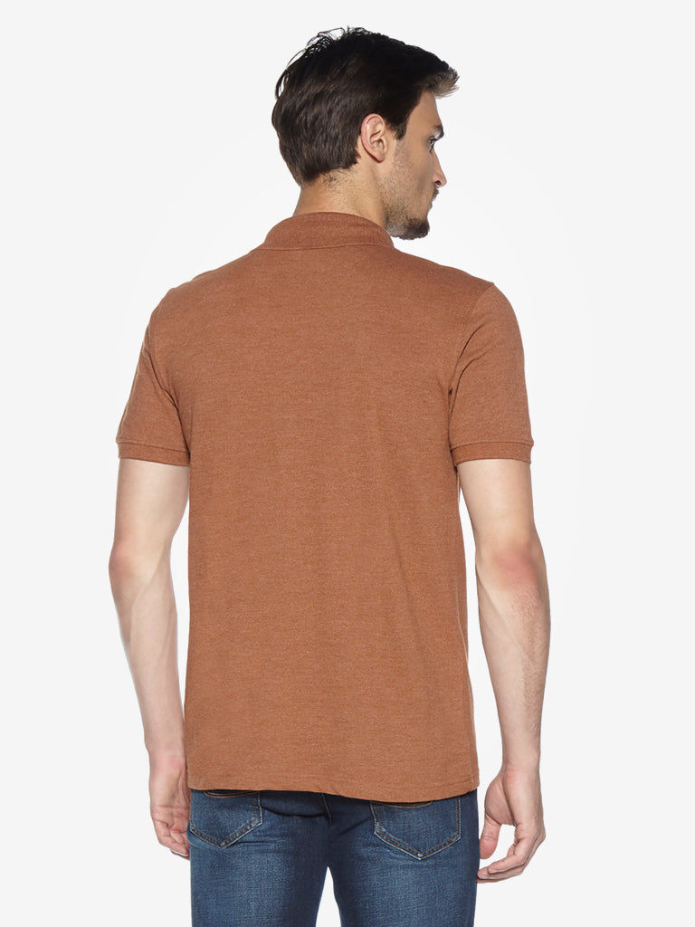 WES Casuals Brown Melange Slim Fit Polo T-Shirt