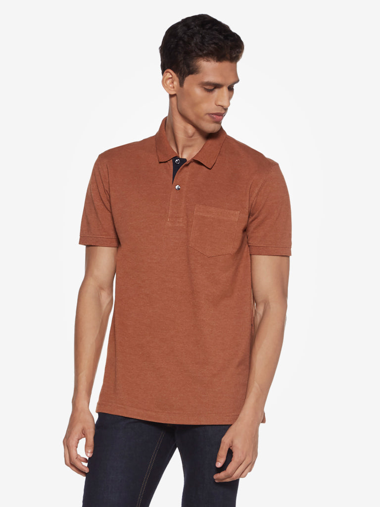 WES Casuals Brown Slim Fit Polo T-Shirt