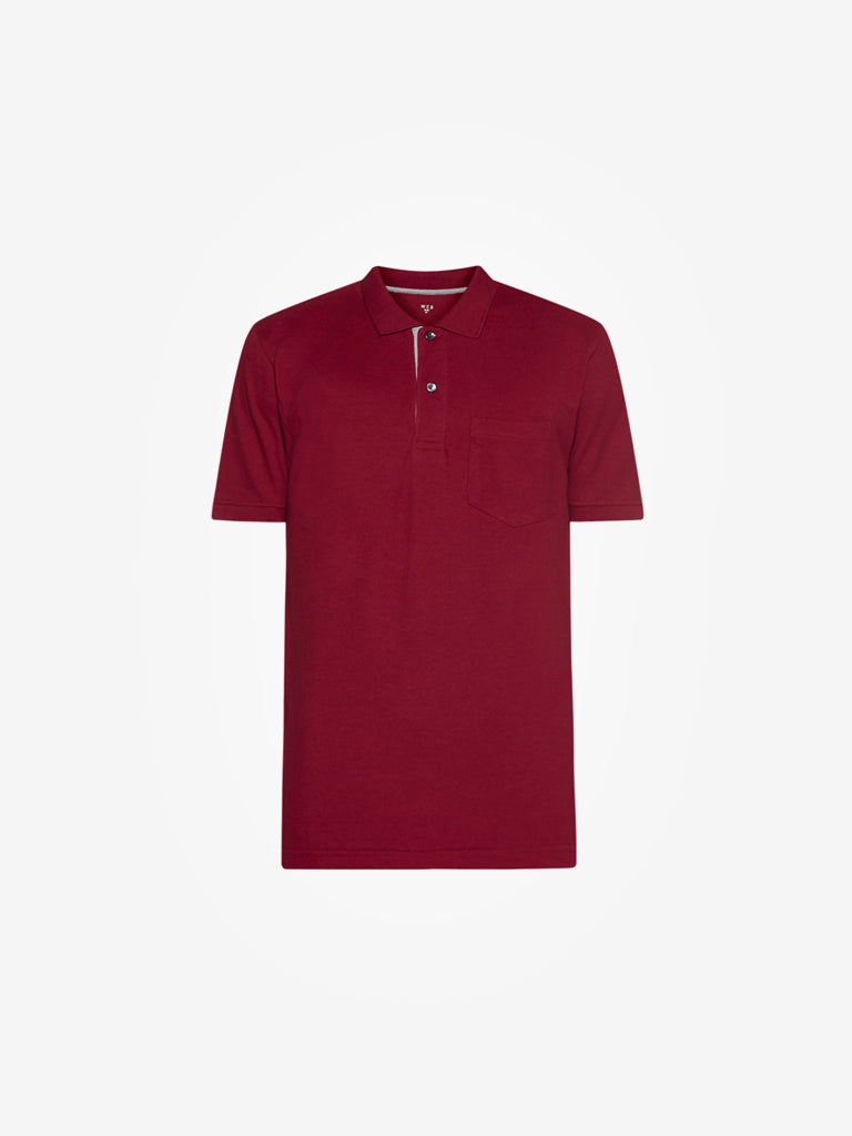 WES Casuals Maroon Slim Fit Polo T-Shirt