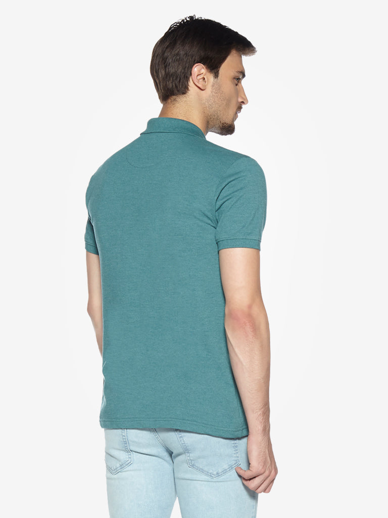 WES Casuals Green Mel Slim Fit Polo T-Shirt