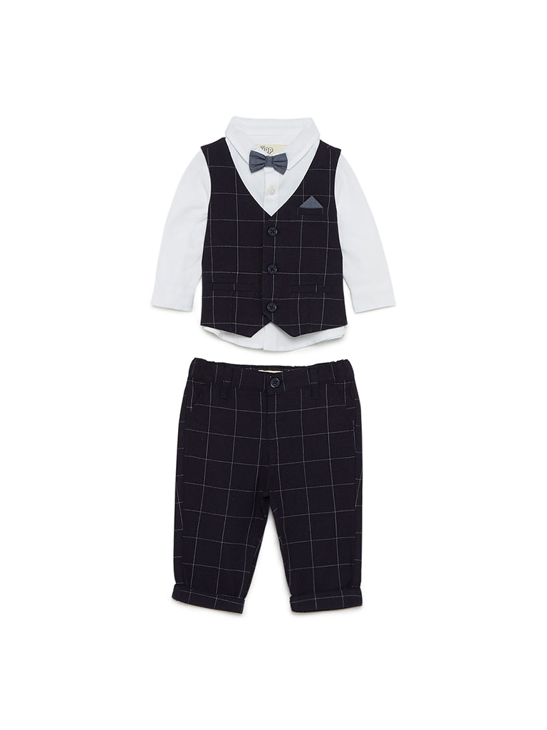 Baby HOP Navy Checkered Waistcoat And Pants Set