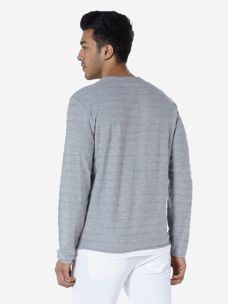 ETA Grey Self-Patterned Slim Fit T-Shirt