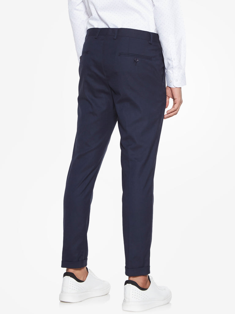 WES Formals Navy Carrot-Fit Trousers