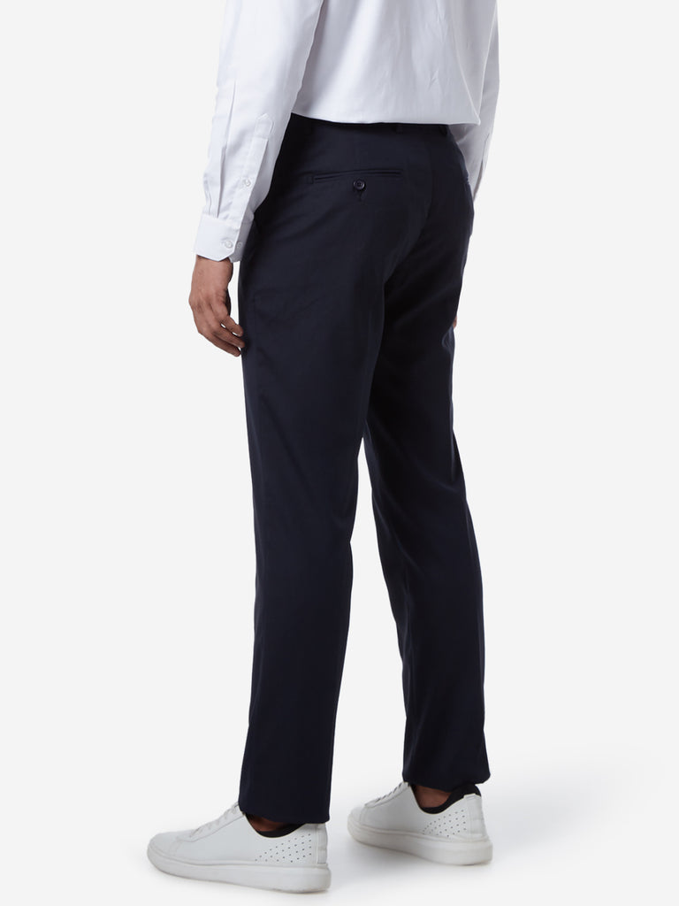 WES Formals Navy Relaxed Fit Trousers