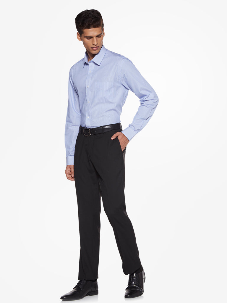 WES Formals Black Relaxed Fit Trousers