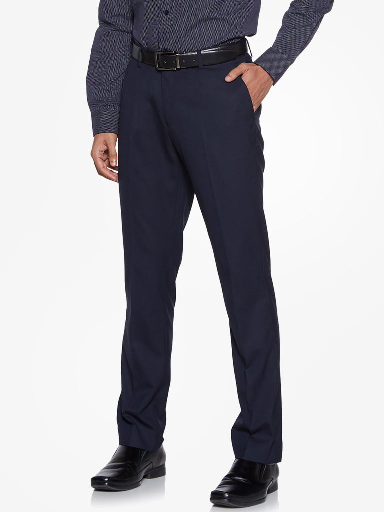 WES Formals Navy Regular Fit Trousers