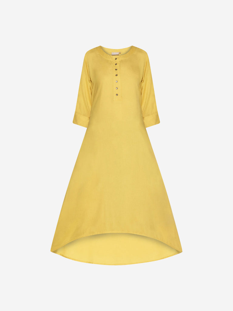 Utsa Yellow Solid High-Low Kurta