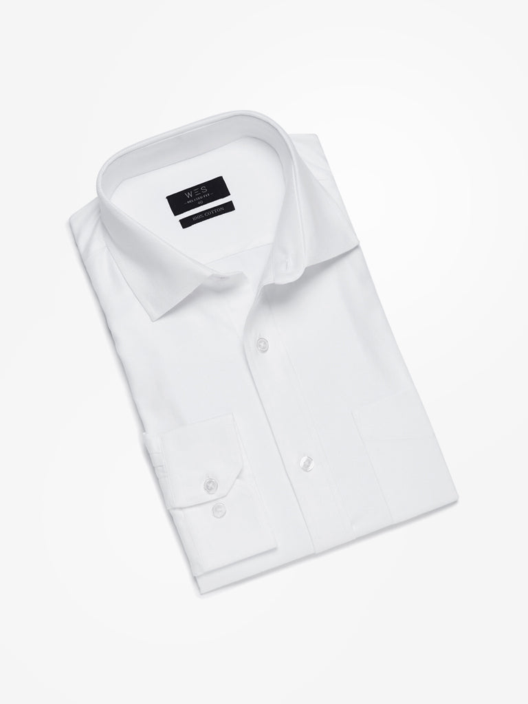 WES Formals White Twill Relaxed Fit Shirt