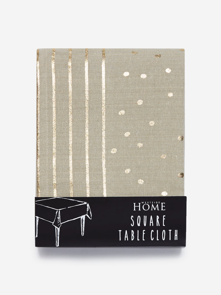 Westside Home Taupe Circular Print Pure-Cotton Square Table Cloth