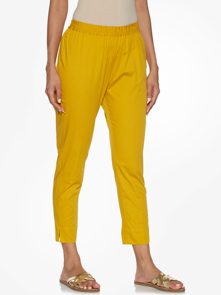 Utsa Mustard Pencil Fit Ethnic Pants